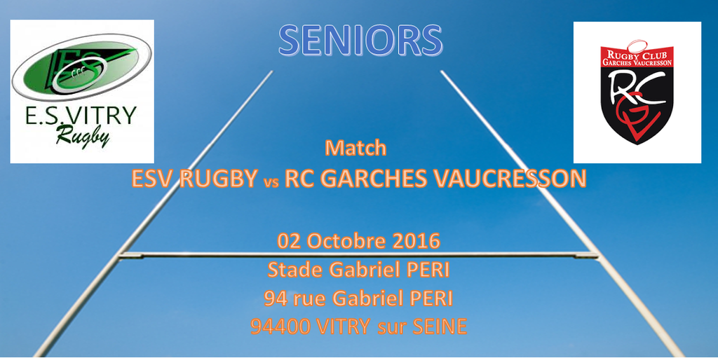 Match Seniors ES VITRY RUGBY / RUGBY CLUB GARCHES VAUCRESSON