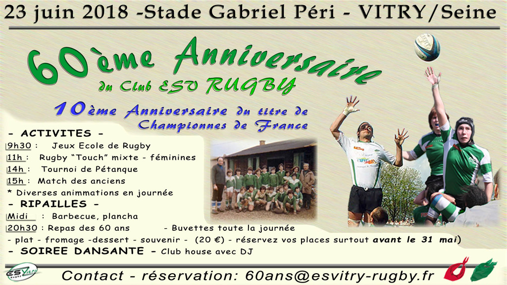 Anniversaire Du Club Entente Sportive Vitry Sur Seine Rugby